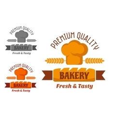 Brown and yellow bakery emblem vector image