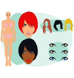 female model set vector image vector image