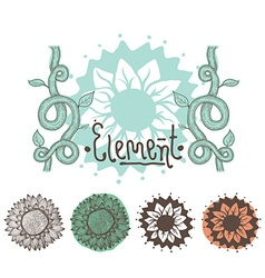 Set of color floral elements Flowers branches vector image