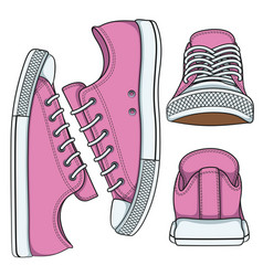 set of with pink sneakers vector image