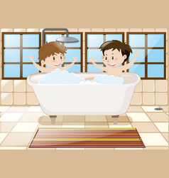 two boys taking bath together in tub vector image