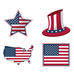 white background with united states flag in shape vector image vector image