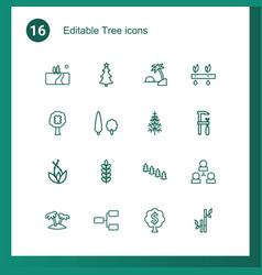 16 tree icons vector