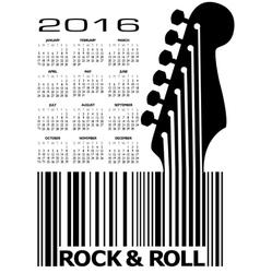 2016 Guitar UPC Calandar vector