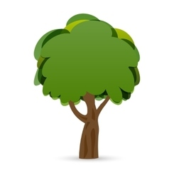 A stylized drawing of a green oak tree vector image
