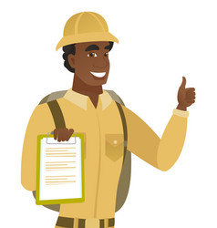 African traveler with clipboard giving thumb up vector