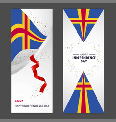 Aland happy independence day confetti celebration vector