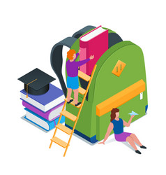 back to school isometric concept 10 vector image