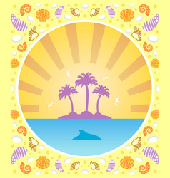 background summer card with palm vector image