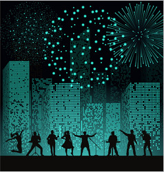 band show on night city background with fireshow vector image