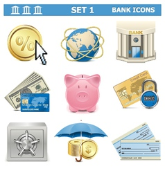 Bank icons set 1 vector