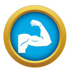 biceps icon blue isolated vector image