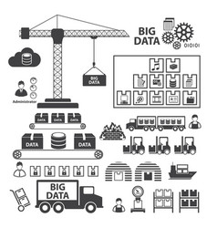 Big data icons set vector