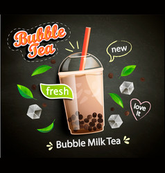 Bubble milk tea in cup with tapioca on blackboard vector