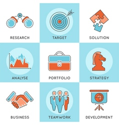 Business Strategy Thin Lines Color Web Icon Set vector image
