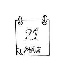 Calendar hand drawn in doodle style march 22 day vector