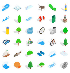 camp nature icons set isometric style vector image