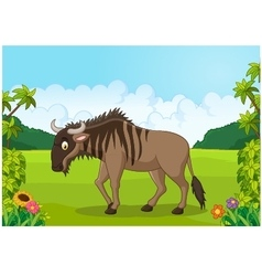 Cartoon animal wildebeest vector