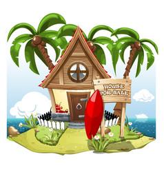 cartoon fairy house on beach on a green hill vector image