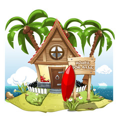 Cartoon fairy house on the beach on a green hill vector