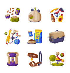 cats and dogs animal accessories set pet shop vector image
