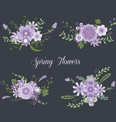 Chalkboard Spring purple Flowers vector image