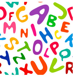 children s english alphabet in seamless pattern vector image