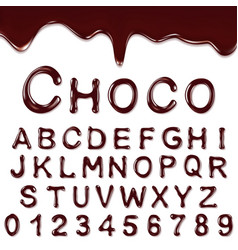 Chocolate alphabet with numbers vector