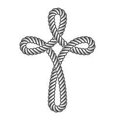 Christian cross rope symbol vector