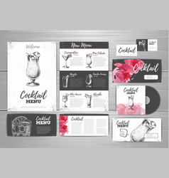Cocktail menu document template vector