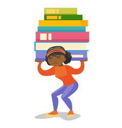 College student carrying a heavy pile of books vector