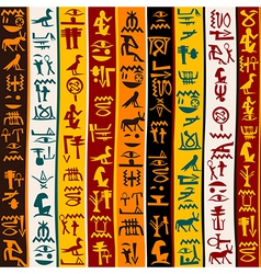 Colorful background with Egyptian hieroglyphs vector image