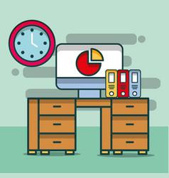computer chart report binders clock desk furniture vector image