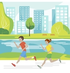 Couple Running in the Park vector image