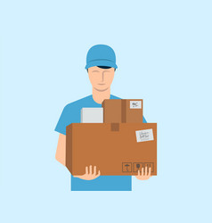 Courier delivery service mail parcels and boxes vector