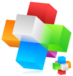 cubes blocks forming a geometrical structure vector image