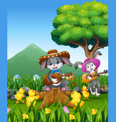 cute bunnies relax playing guitar with a nature ba vector image