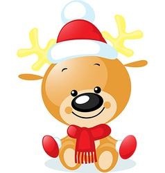 Cute reindeer with santa cap - vector
