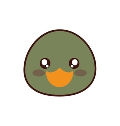 Duck kawaii cute animal icon vector