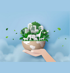 eco concept and world wildlife day vector image