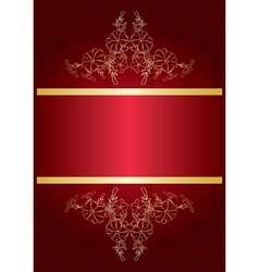 Elegant red card with golden decor vector