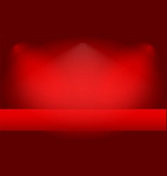 empty red abstract mock up 3d stage studio vector image