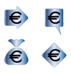 Euro sign A set of four elements vector image