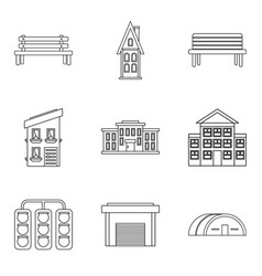 Expansion of the city icons set outline style vector