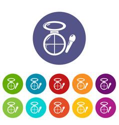 Face powder multicolor icons set color vector
