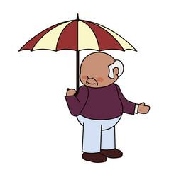 Faceless male umbrella elder vector