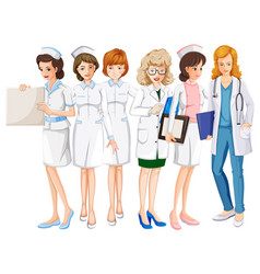 Female doctors and nurses in uniform vector