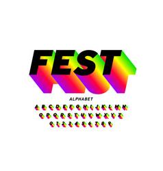 fest style bright font design vector image