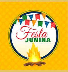 festa junina bonfire background design vector image