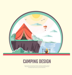 Flat design of retro seaside landscape and camping vector
